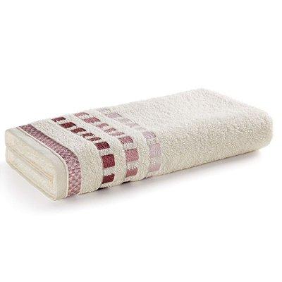 Toalha de Banho Calera - Branco e Rosa - Karsten