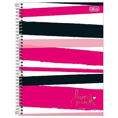Caderno Love Pink Listras - 1 Matéria - Tilibra