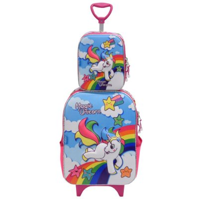 Kit Mochila Soft 3D + Lancheira - Magic Unicorn - Diplomata