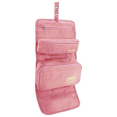 Kit Necessaire 3 em 1 - Rosa - Jacki Design