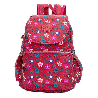 Mochila Juvenil Young - Vermelho Floral - Santino