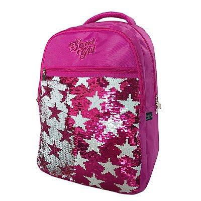Mochila de Costas Sweet Girl Paetê Pink - Santino