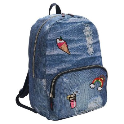 Mochila de costas Teen Jeans - Patches - Republic Vix