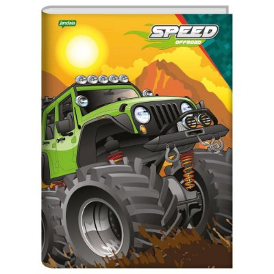 Caderno Brochura Speed Monsters Verde - 96 Folhas - Jandaia