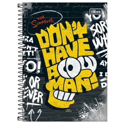 Caderno Os Simpsons - Don't Have - 160 Folhas - Tilibra