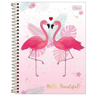 Caderno Colegial Aloha Flamingo - 80 Folhas - Tilibra