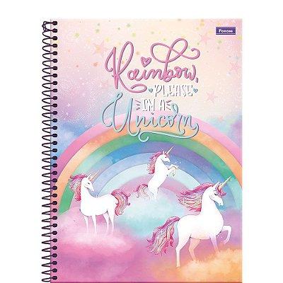 Caderno Unicórnio - Rainbow - 200 Folhas - Foroni