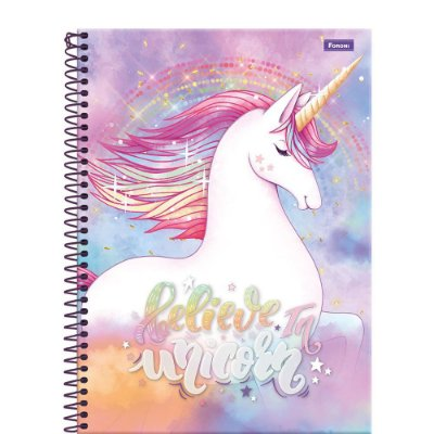 Caderno Unicórnio - Believe in Unicorn - 200 Folhas - Foroni