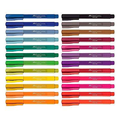 Conjunto Caneta Fine Pen - 24 cores - Faber Castell