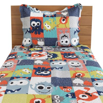 Kit Colcha Dupla Face Evolution Patchwork Solteiro - Monstros - Camesa