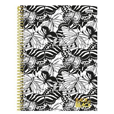 Caderno Back To Black - Borboletas Branco - 200 folhas - Foroni