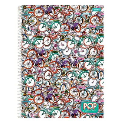 Caderno Pop Collection - Bicicletas - 96 folhas - Foroni