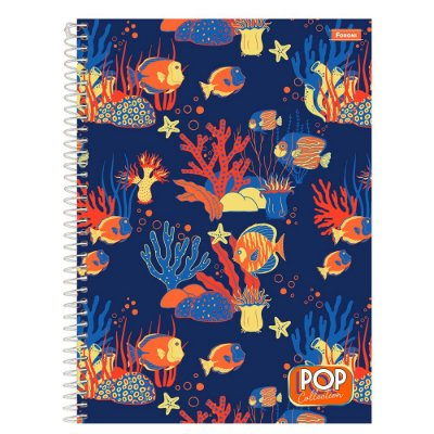 Caderno Pop Collection - Fundo do Mar - 96 folhas - Foroni
