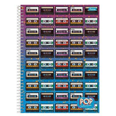 Caderno Pop Collection - Fita Cassete - 200 folhas - Foroni