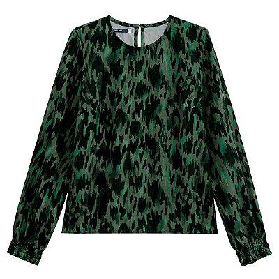 Blusa Estampada Manga Longa Verde com Punho - Malwee