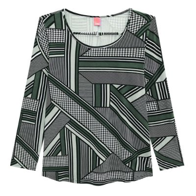 Blusa Abertura Frontal Cinza Plus Size Wee -  Malwee