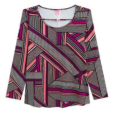 Blusa Abertura Frontal Rosa Plus Size Wee -  Malwee