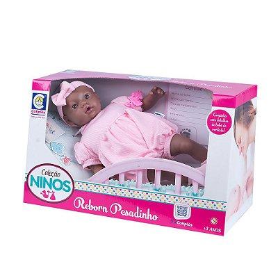 Boneca Ninos Reborn Pesadinho Negra - Menina - Cotiplás