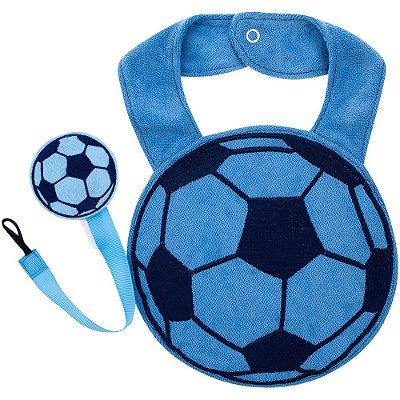 Babador Divertido com Prendedor de Chupeta - Bola Azul - Pimpolho