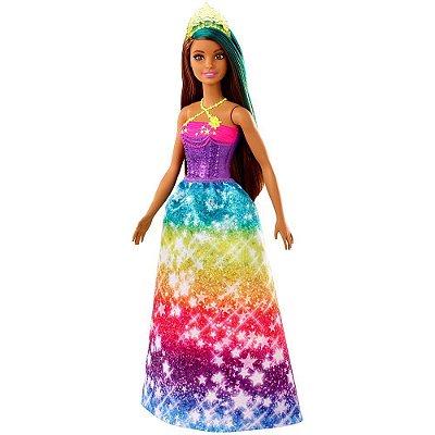 Barbie Dreamtopia Princesa Morena - Arco-Íris - Mattel