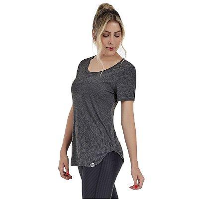 T-shirt Feminina Skin Fit Alongada Mescla Cinza Escuro - Alto Giro