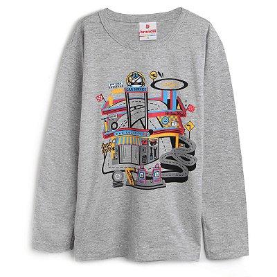 Camiseta Infantil Manga Longa Mescla - Brandili