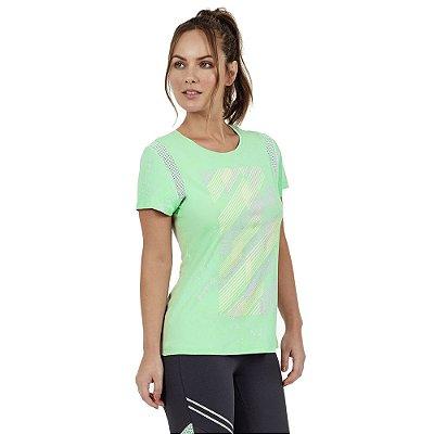 T-Shirt Feminina Skin Fit Recortes Verde Água - Alto Giro