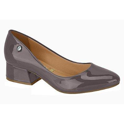 Sapato Salto Baixo Verniz Cinza - Vizzano