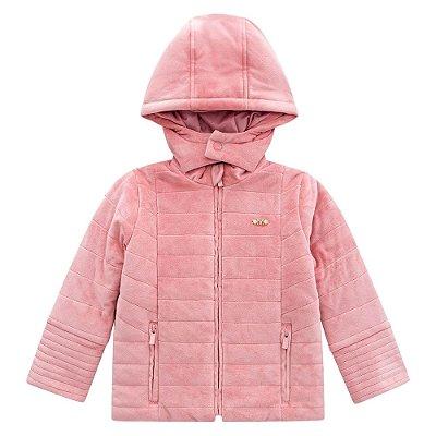 Jaqueta Infantil Veludo Rosa - Milon