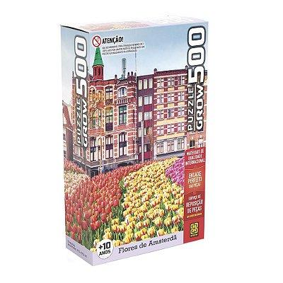 Quebra-Cabeça - Flores em Amsterdã - 500 Peças - Grow
