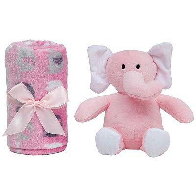 Conjunto Manta e Pelúcia Elefantinho - Rosa - Buba