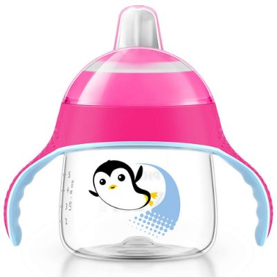 Copo Pinguim com Alças Rosa - 200ml - Philips Avent