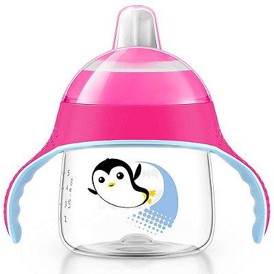 Copo Pinguim com Alças Rosa - 200ml - Philips Avent