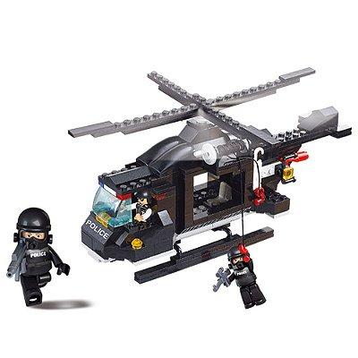 Blocos de Montar Police - Helicóptero Policial - 219 Peças - Sluban