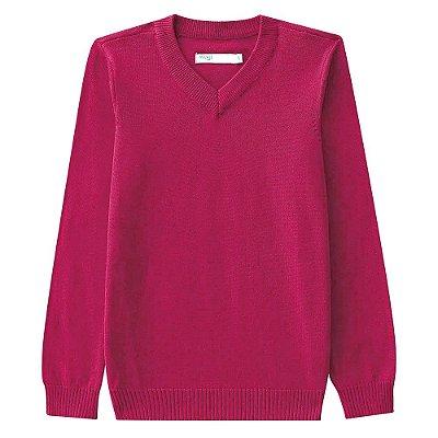 Suéter em Tricô Gola V - Rosa - Malwee