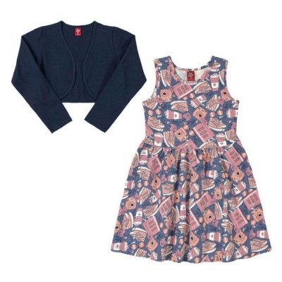 Vestido Infantil Foral com Bolero Azul - Bee Loop