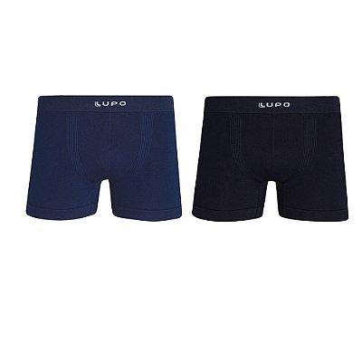 Kit Cueca Boxer sem Costura - Preto e Azul Escuro - Lupo