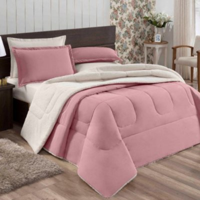 Coberdrom Flannel com Sherpa Casal - Rosa - Naturalle