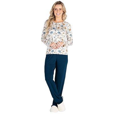 Pijama Manga Longa Peitilho Azul Petróleo - Toque Sleepwear