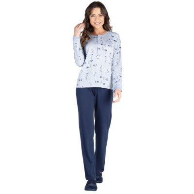 Pijama Manga Longa Peitilho Cotton Azul - Toque Sleepwear