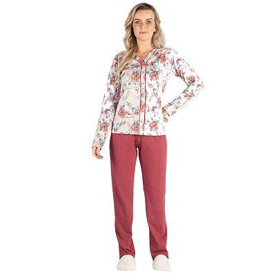 Pijama Manga Longa Aberto Flower Rose - Toque Sleepwear