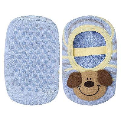 Meia Baby Antiderrapante Ursinho - Azul - Lupo