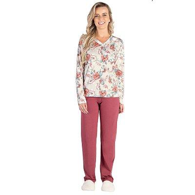 Pijama Manga Longa Flower Rose - Toque Sleepwear