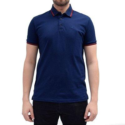 Camisa Polo Básica - Azul/Vermelho - Ellus