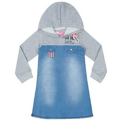 Vestido T-Dress Jeans com Moletom - Momi