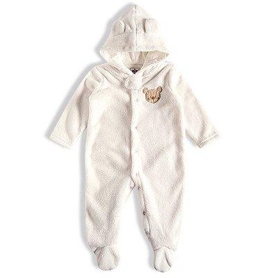 Macacão Baby Com Capuz Ursinho Peludinho - Off White - Tip Top
