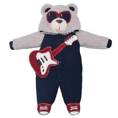 Macacão Baby com Capuz Pelinho - Urso Guitarrista - Upi Uli