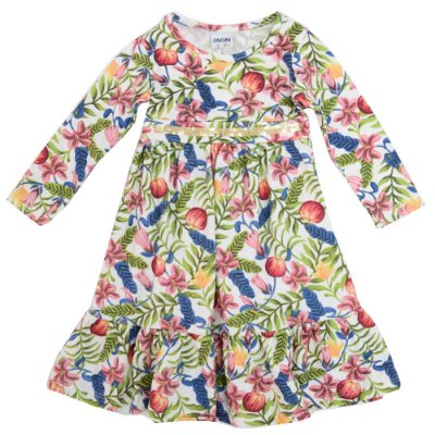 Vestido Manga Longa Floral Marfim - Fakini