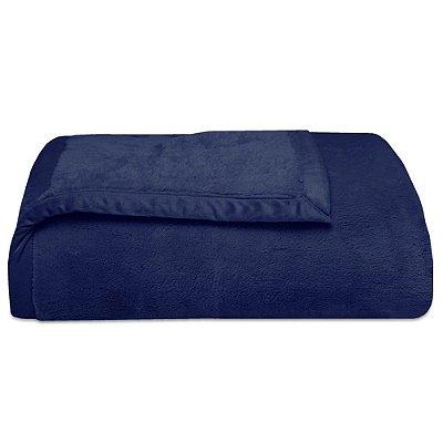 Cobertor Soft Premium Liso Casal 480g/m² - Azul Escuro - Naturalle