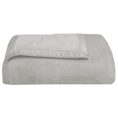 Cobertor Soft Premium Liso Casal 480g/m² - Cinza Claro - Naturalle